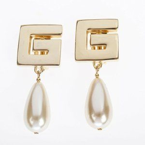 Givenchy G Monogram Earrings w/ Simulated Oblong P